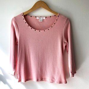 August Silk Pink Scoop Neck Crop Top L